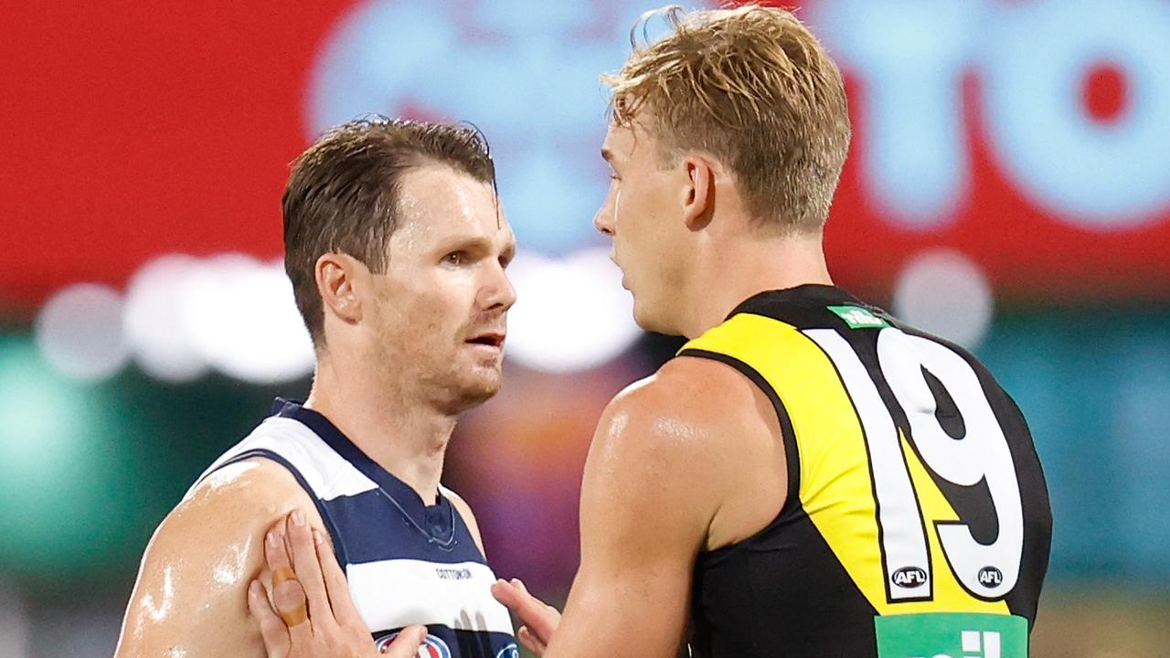 Patrick Dangerfield of the Cats had one of his quietest games for the year. Picture: Michael Willson