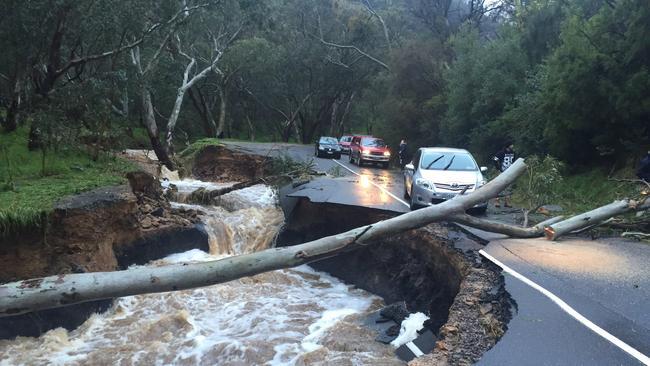 Severe damage to Montacute Rd, after torerntial rain during September. Pic: Roy VanDerVegt