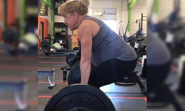 pregnant 57yo mum weightlifting