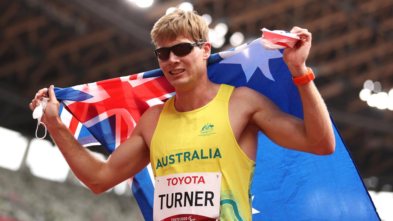 James Turner of Team Australia celebrates winning the gold medal in the Men's 400m – T36 Final on day 7 of the Tokyo 2020 Paralympic Games. Photo: Getty Images