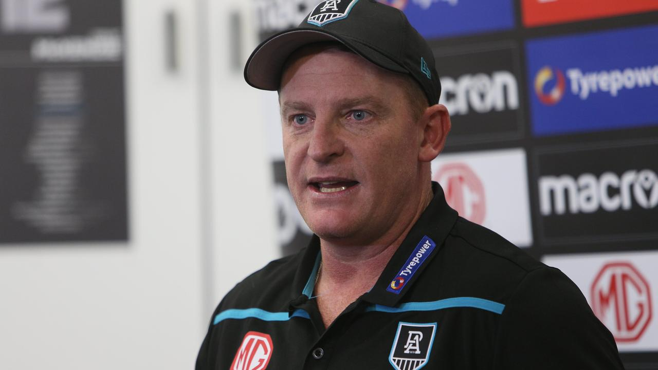 ADELAIDE, AUSTRALIA - NEWSWIRE Photos MAY 10, 2021: Michael Voss - Senior Assistant at Port Adelaide AFL football club talks to media at a press conference after players undertook a light recovery session at Alberton Oval, Alberton, South Australia. Picture: NCA NewsWire / Emma Brasier