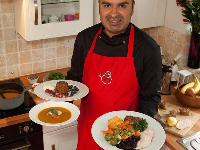Gurpareet Bains with his uber-healthy, three-course Christmas feast.