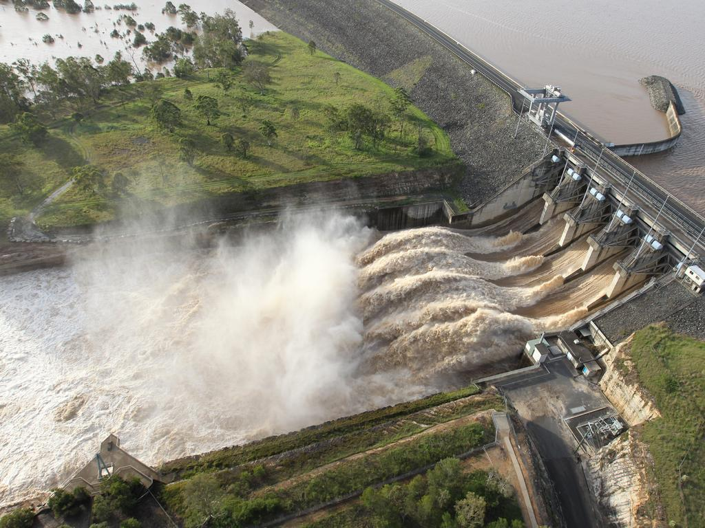 Water pours over the spillway at Wivenhoe Dam, west of Brisbane, in January 2011.