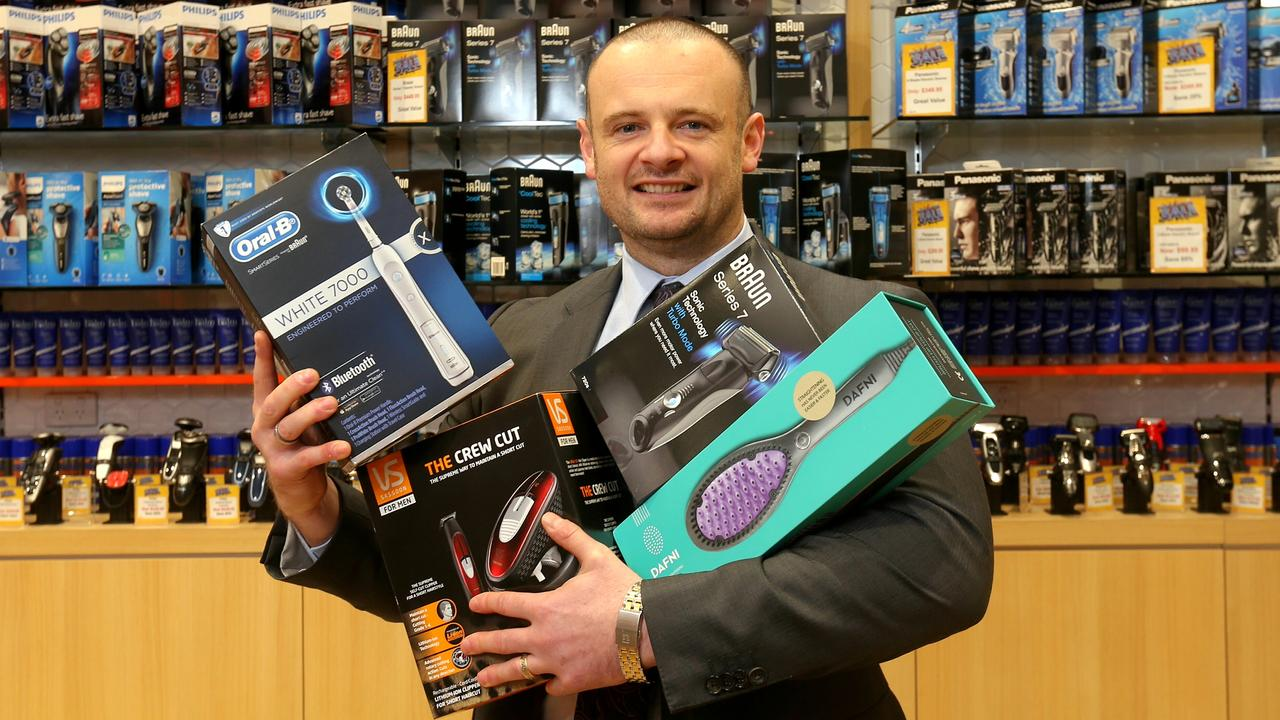 The Shaver Shop CEO Cameron Fox, with some product. Picture: Ian Currie