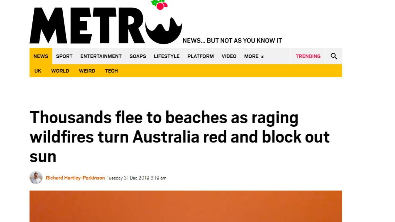 Metro in the UK told readers how in Australia the 'world turned red'.