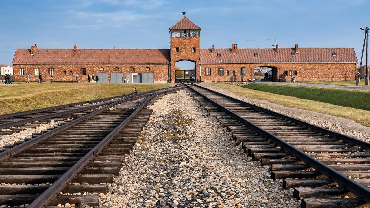 Police said the man was caught trying to steal a metal piece from these railway tracks leading to Auschwitz II-Birkenau death camp.
