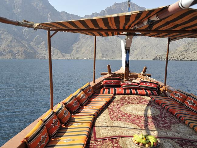 7. CRUISE IN AN ARABIAN DHOW, OMAN In the Omani city of Khasab, board a traditional wooden dhow and sail the tranquil waters of Musandam. Known as the 'Norway of Arabia', you'll spy pretty fishing villages along the way before anchoring at Telegraph Island. Here you can opt to swim in the turquoise waters surrounded by pure white cliffs. And if you are lucky, a friendly dolphin may even stop by to keep you company. And if not, there are always the breathtaking views of mountains rising in the distance to keep you entertained. The excursion is available on MSC Cruises ships visiting Oman.