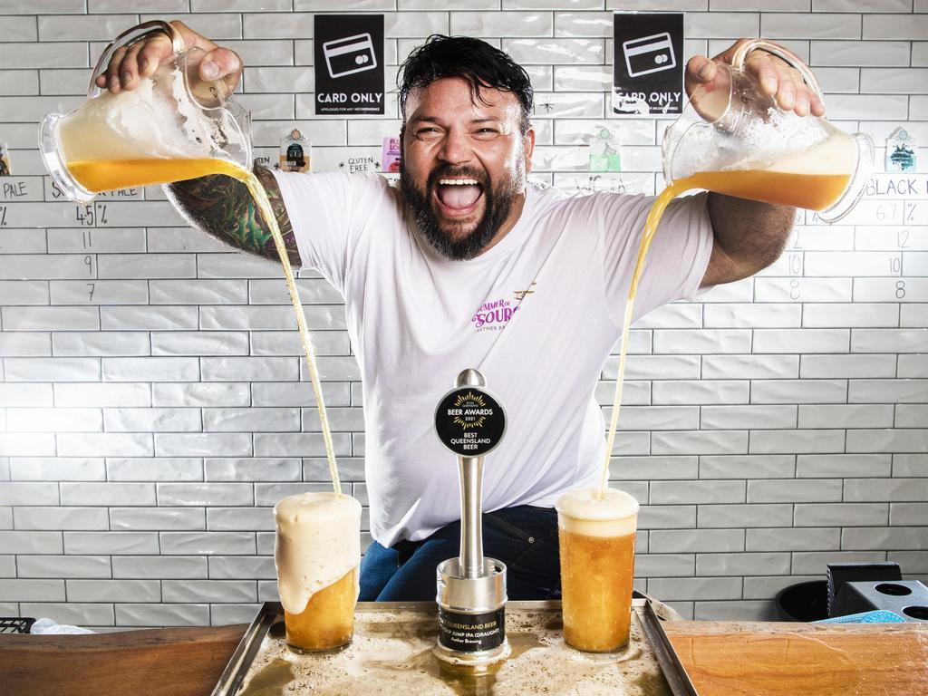 Aether Brewing's Dave Ward celebrates his state win. Picture: Nigel Hallett