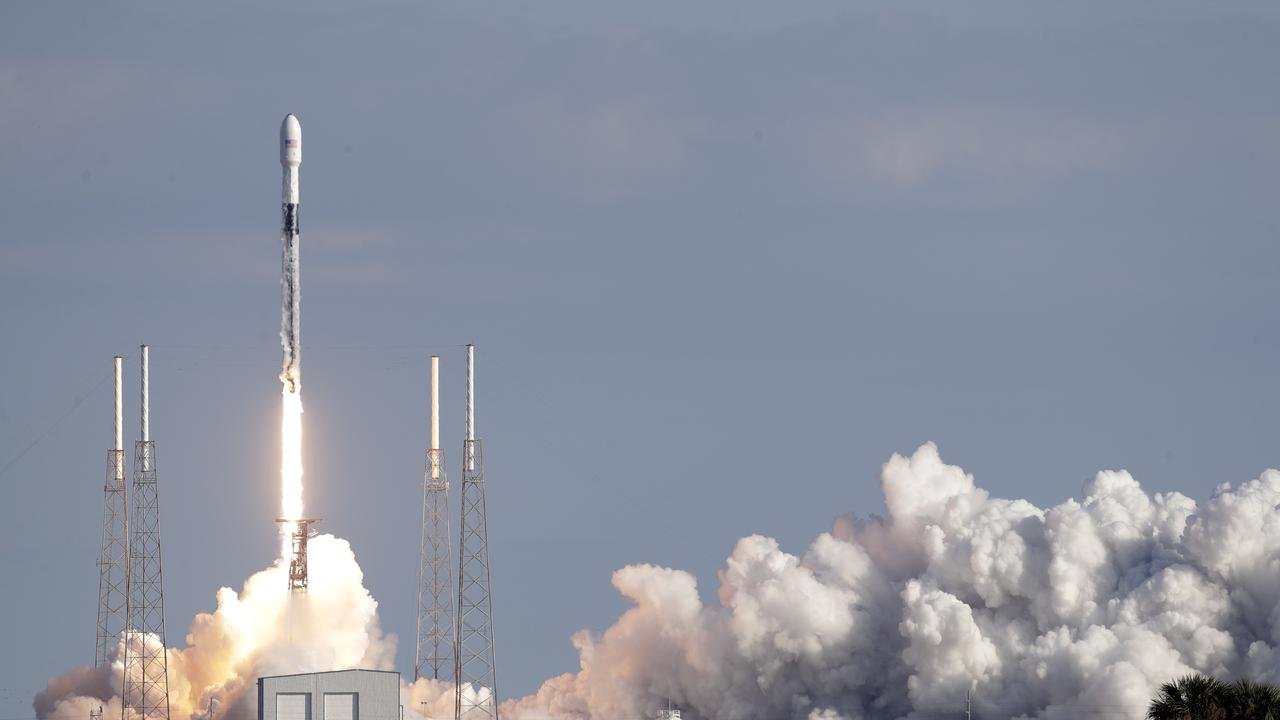 A Falcon 9 SpaceX rocket with a payload of about 60 satellites for SpaceX's Starlink broadband network launched into space last month. Picture: AP Photo/John Raoux