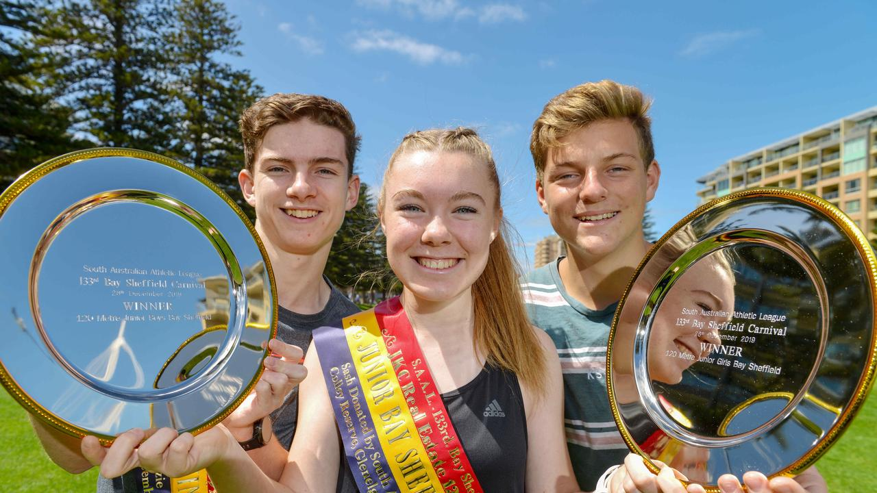Aidan Konopka (L) with Katie Woodmore and Max Disbury. Picture: Brenton Edwards