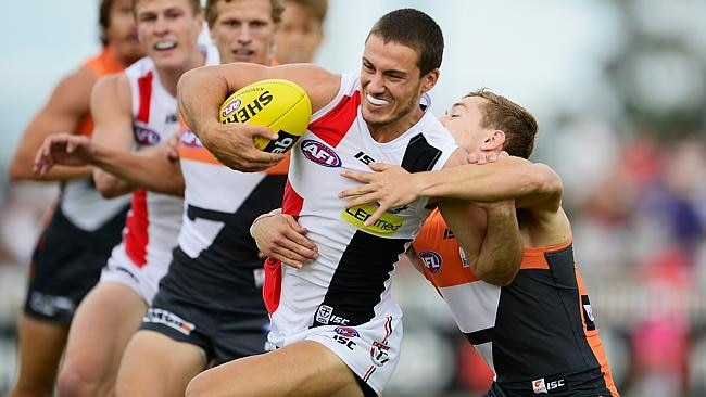 Nathan Wright attempts to break a tackle in Wagga.