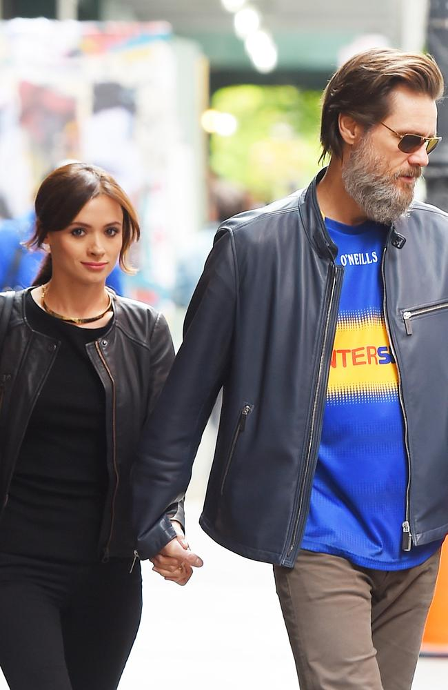 Carrey with his girlfriend Cathriona White who passed away last year.