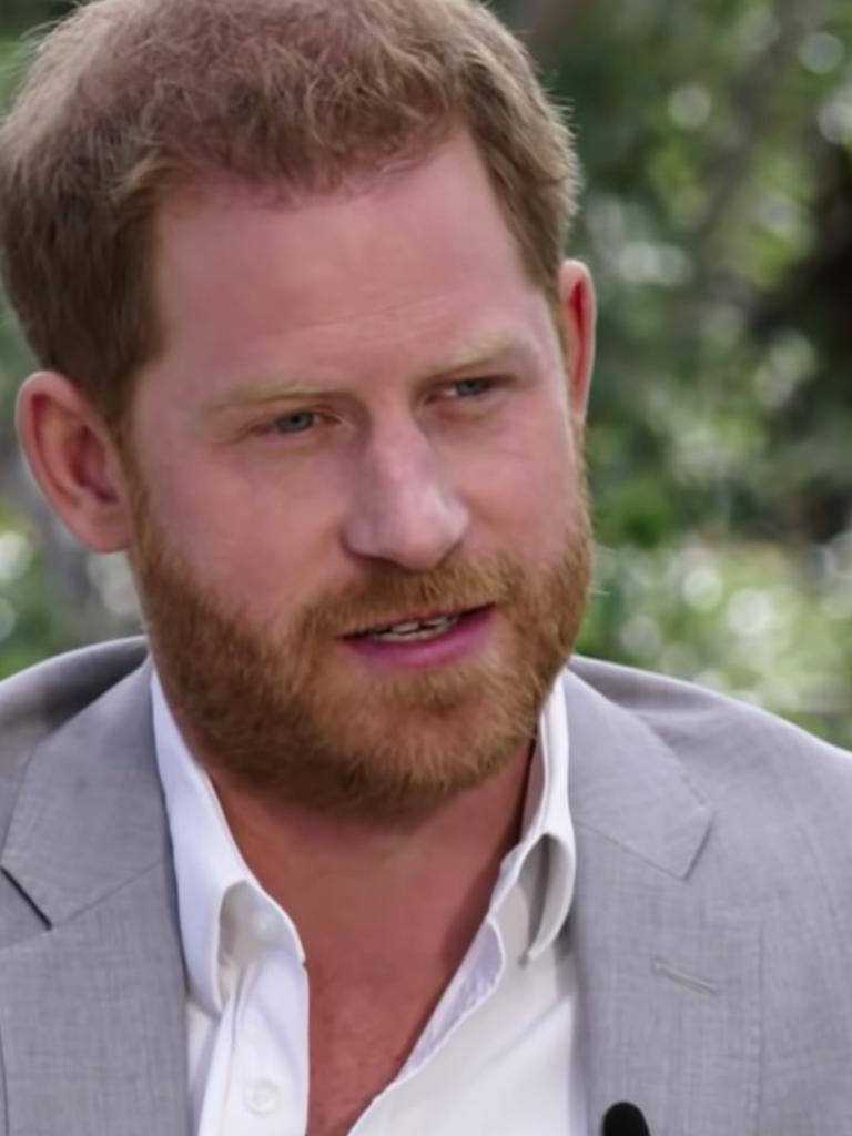 Harry was heard talking about his and Meghan's difficult year in the teaser. Picture: CBS