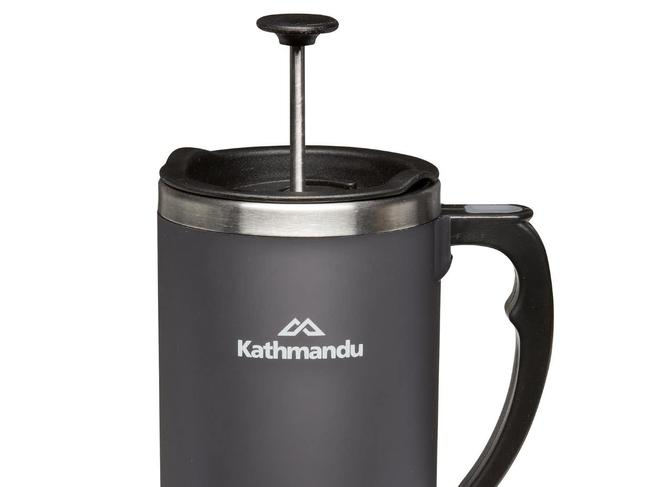 COFFEE PLUNGER MUG, FROM $35.98 FROM KATHMANDU Regardless of where you set up camp, coffee lovers needn't worry about their next caffeine hit with this double-walled plunger. Just pack your favourite grind and go. Picture: Kathmandu