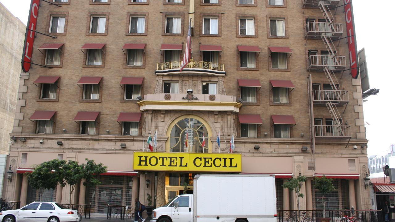 The exterior of the Cecil Hotel in Downtown Los Angeles.