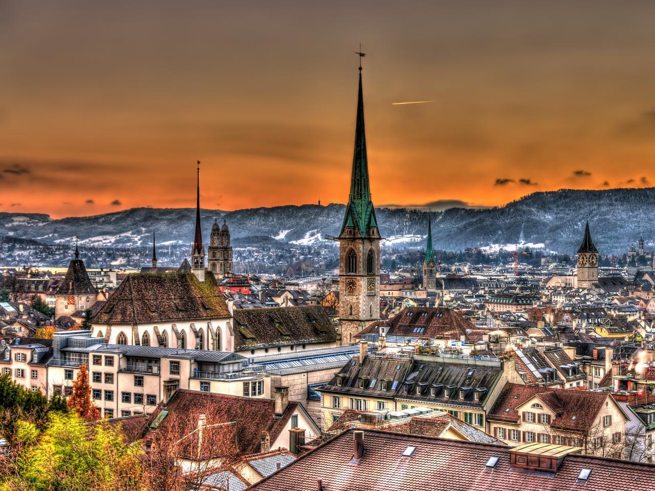Cityscape of Zurich, Switzerland in winter at sunset