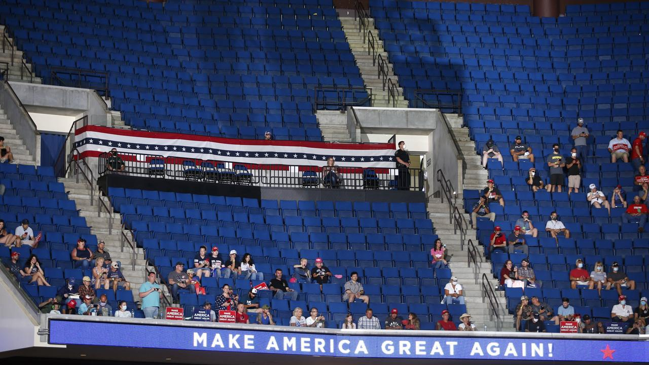 The upper deck appeared largely empty during the rally. Picture: Matt Barnard/Tulsa World via AP