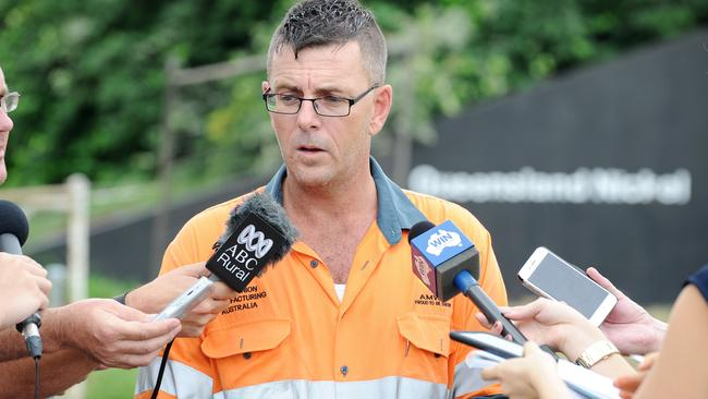 Australian Manufacturing Workers' Union state secretary Rohan Webb addresses the media after staff were told their jobs were on the line on Thursday. Picture: Shae Beplate