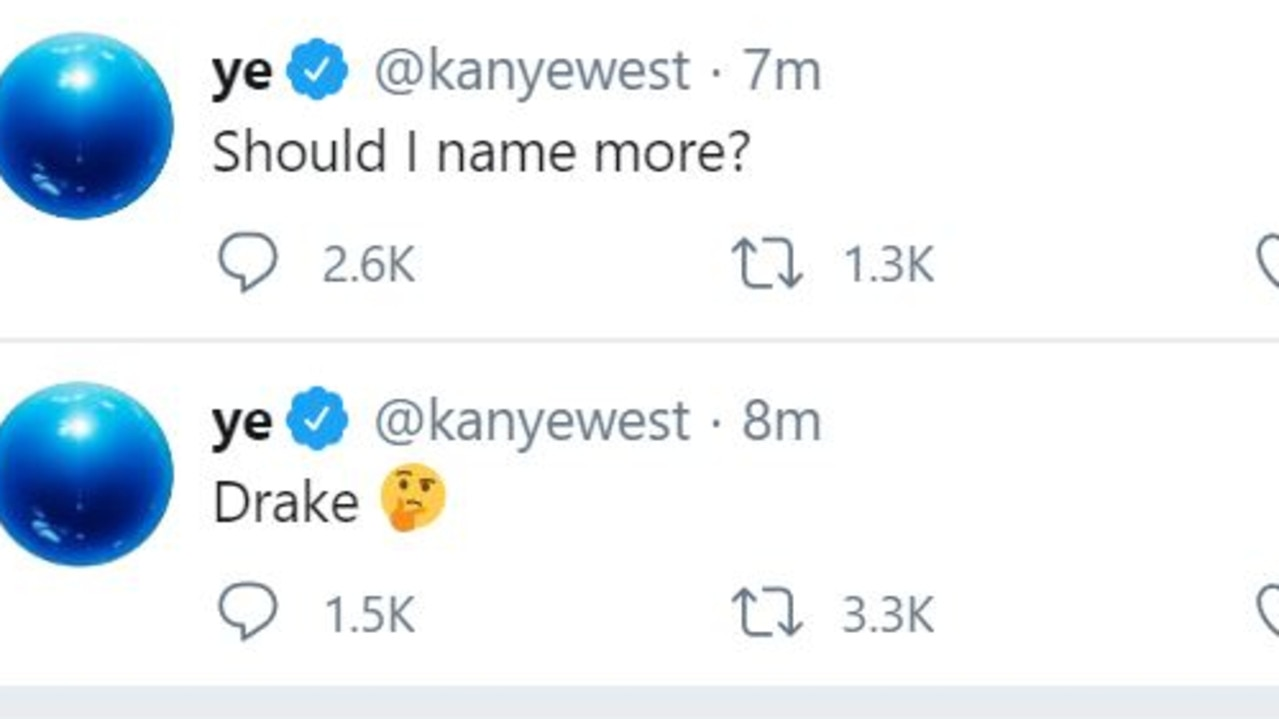 Kanye west has released a new wild flurry of tweets. Picture: Twitter