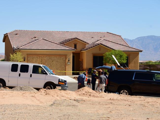 Members of the media gather in front of the home of mass murderer Stephen Paddock in Mesquite, Nevada. Picture: AFP