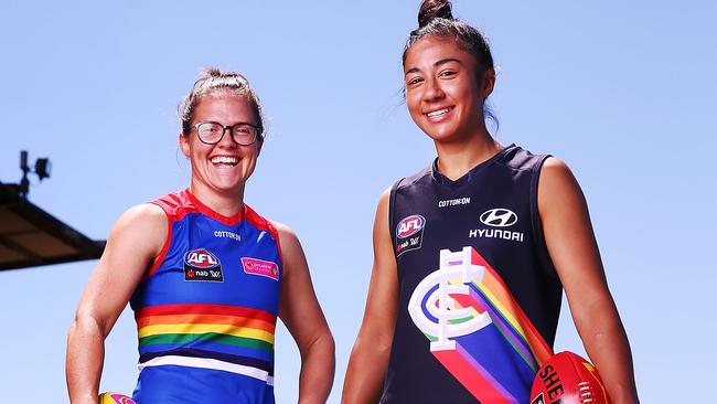 The Western Bulldogs and Carlton will play in the first AFLW Pride Game. Photo: Michael Dodge/Getty Images