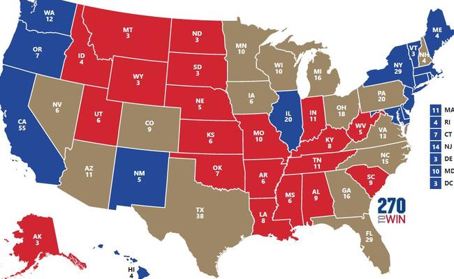 The swing states are in grey, with safe Democratic states in blue and safe Republican ones in red. Picture: 270toWin