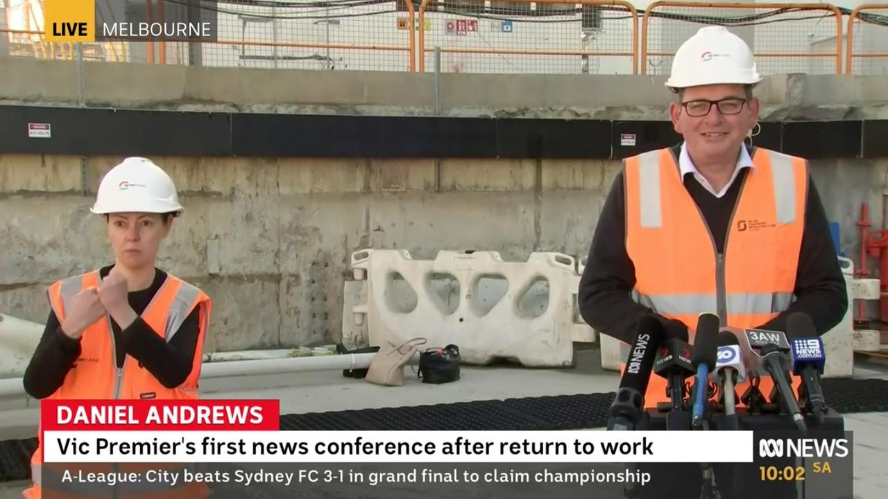 Daniel Andrews speaking to reporters on Monday morning, his first press conference after returning to work. Picture: ABC News