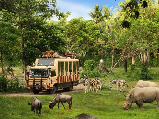 5/20Bali Safari & Marine Park A wildlife park with 4x4 safaris and Africa-style lodges, this attraction offers families the chance to get up-close with zebras, lions and rhinos on a safari-style journey through the jungle. The park is home to more than 100 species, including the endangered Sumatran tiger, Komodo dragon and orangutan. Picture: Bali Safari Marine Park