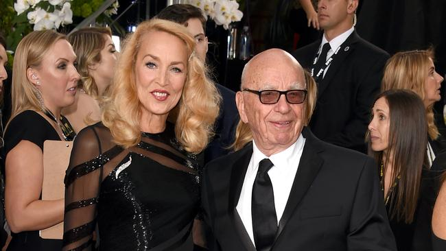 BEVERLY HILLS, CA - JANUARY 10: News Corp. CEO Rupert Murdoch (R) and model Jerry Hall attend the 73rd Annual Golden Globe Awards held at the Beverly Hilton Hotel on January 10, 2016 in Beverly Hills, California. (Photo by Jason Merritt/Getty Images)