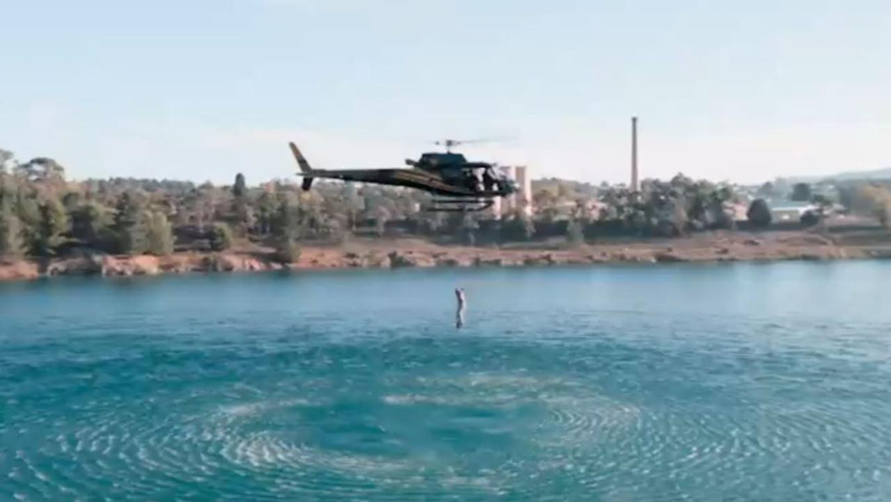 Bonnie Anderson as she falls from a helicopter. Picture: Channel 7.