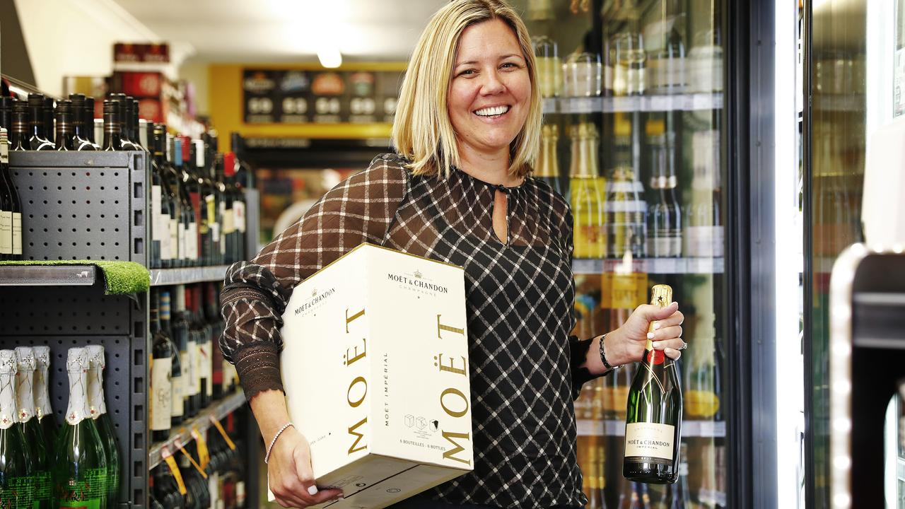 People are drinking a lot at home, Metcash figures suggest. Pictured is Rozelle Cellarbrations owner Danielle Richardson. Picture: Sam Ruttyn