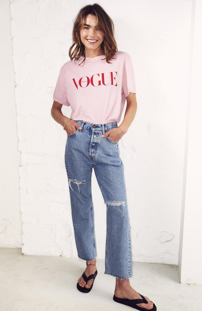 Bambi Northwood-Blyth wearing Vogue x Bassike's limited edition T-shirt for Vogue Fashion's Night In. Picture: Vogue