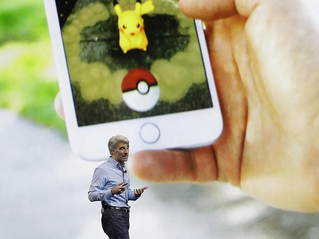 Mr Federighi announcing augmented reality features for the new iPhone. Picture: Marcio Jose Sanchez/AP
