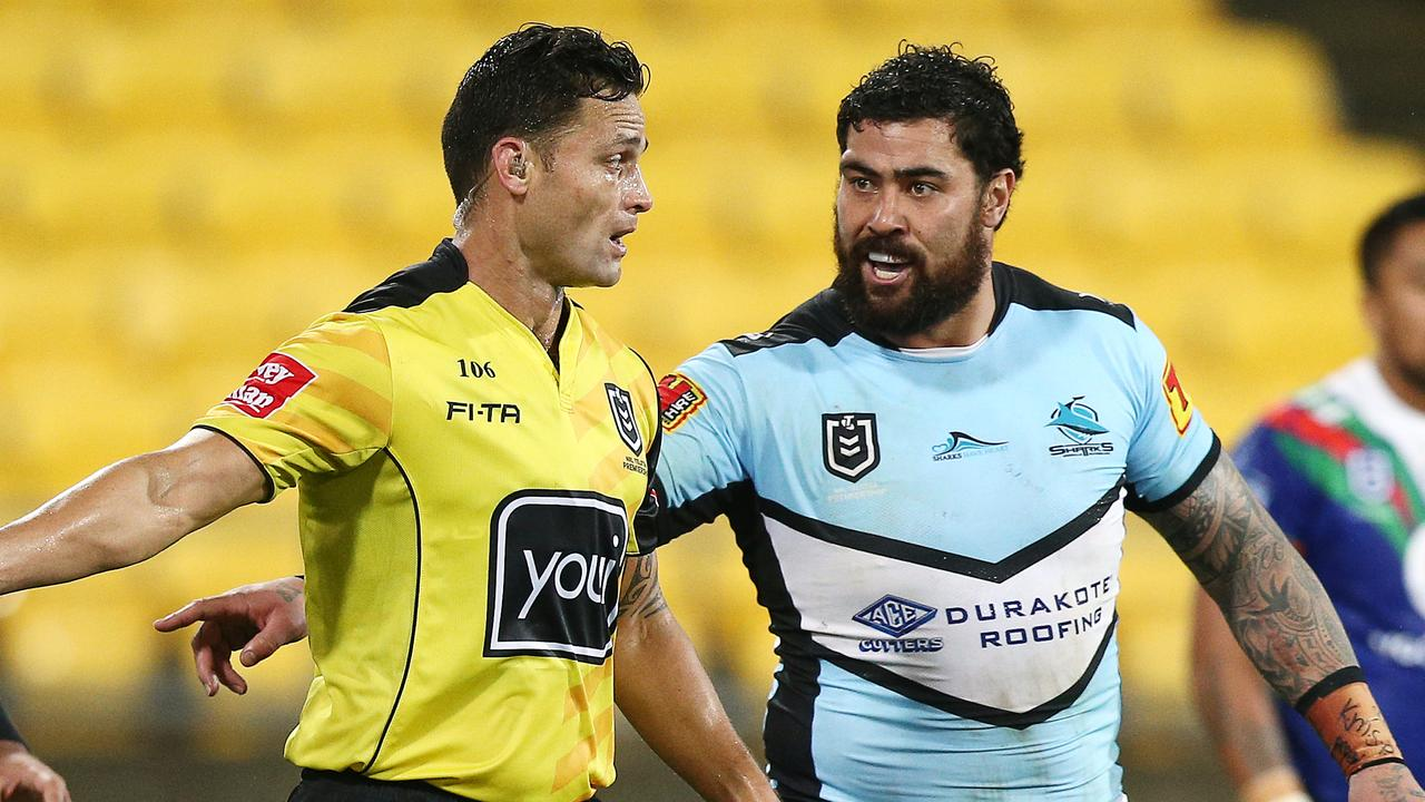Andrew Fifita of the Sharks appeals to referee Henry Perenara.