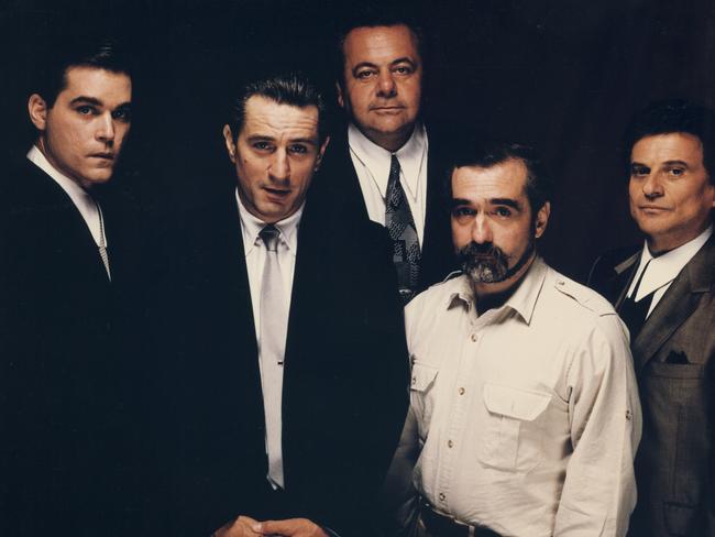 Ray Liotta, Robert DeNiro, Paul Sorvino, Martin Scorsese, Joe Pesci in Goodfellas. Picture: Sikelia Productions