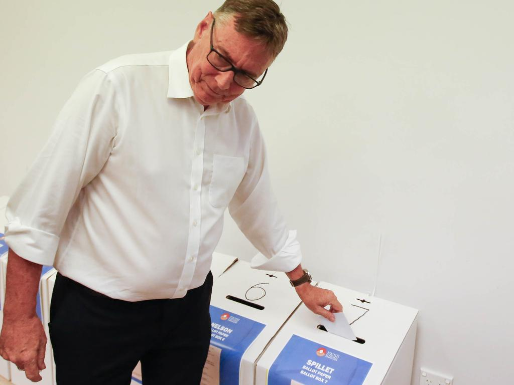 Territory Alliance leader Terry Mills voted early at Palmerston Shopping Centre. Picture GLENN CAMPBELL