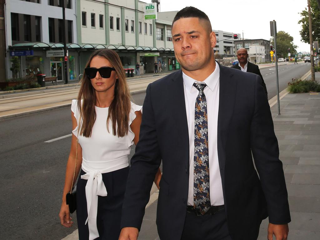Jarryd Hayne was flanked by Amellia Bonnici, the mother of his daughter, as he arrived at court. Picture: NCA NewsWire/Peter Lorimer