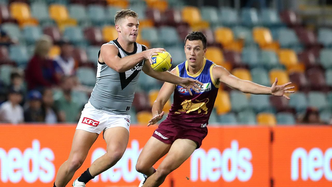 Power star Dan Houston could play more in defence on Saturday night. Picture: Jono Searle/AFL Photos/via Getty Images.