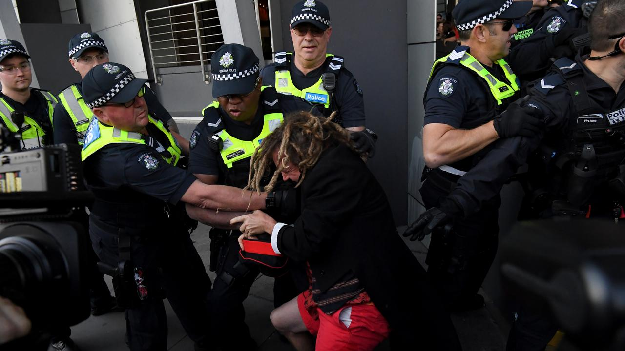 The protesters planned maximum disruption outside the conference. Picture: James Ross/AAP