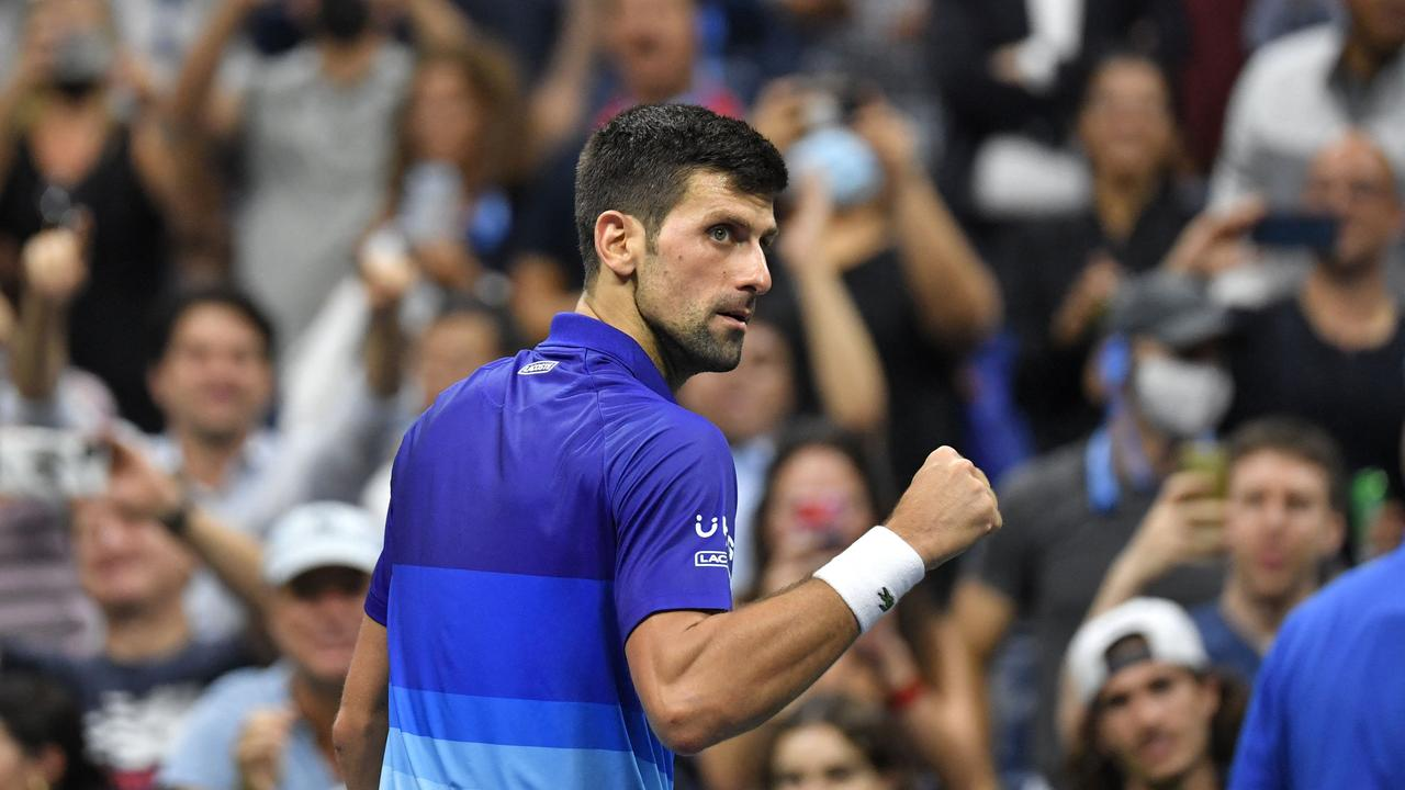 Serbia's Novak Djokovic celebrates after progressing through to the semi-finals of the 2021 US Open. Photo: AFP