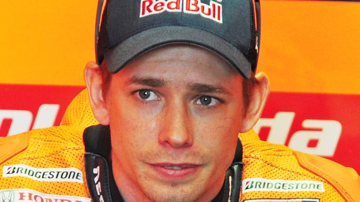 Casey Stoner in the pit box before the qualifying session
