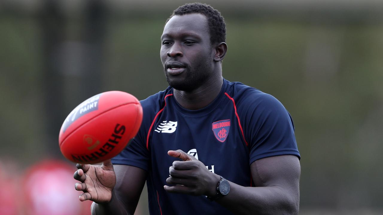 Majak Daw at Melbourne training session at Cranbourne. THURSDAY MARCH 3, 2021. Picture: David Crosling