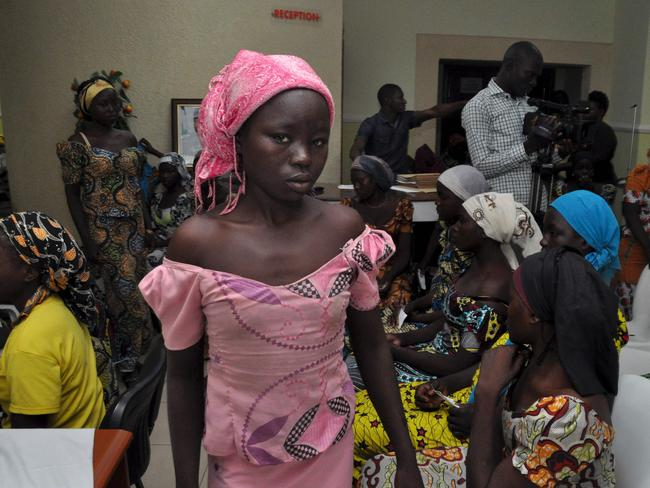 Some of the recently freed girls from Chibok wait in Abuja on May 7, 2017.