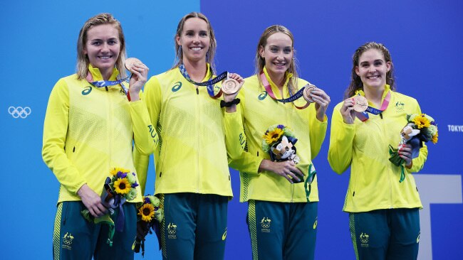 Australian women's 4x200m freestyle team Ariarne Titmus, Emma McKeon, Madison Wilson and Leah Neale with their bronze medals. Photo: Tom Pennington/Getty Images