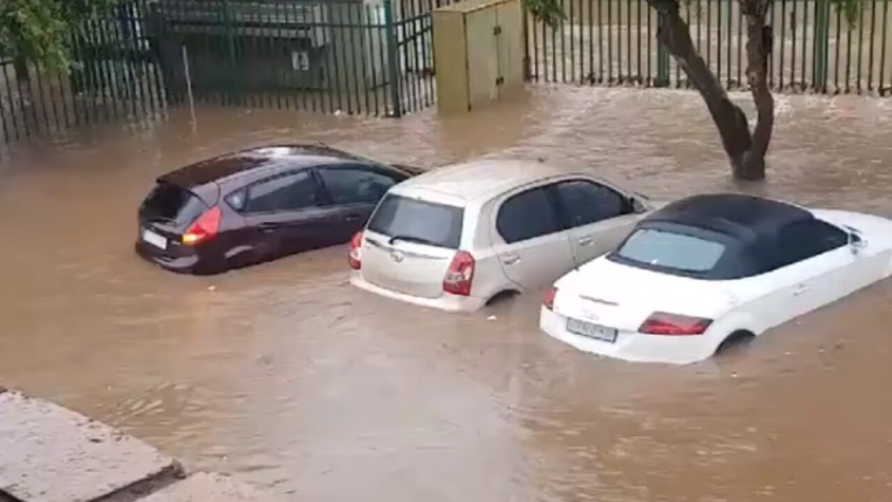 Cars Submerged by Floodwater in Pretoria Suburb