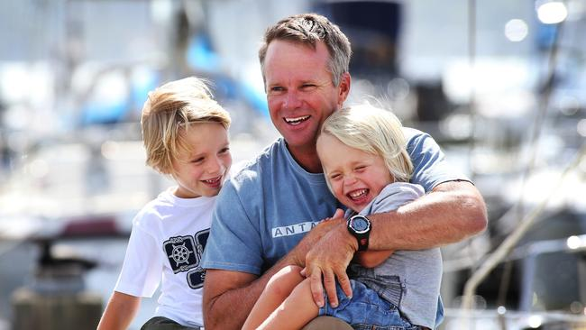 Sailor Chris Nicholson with his sons Banjo, 6, and Tully, 3.