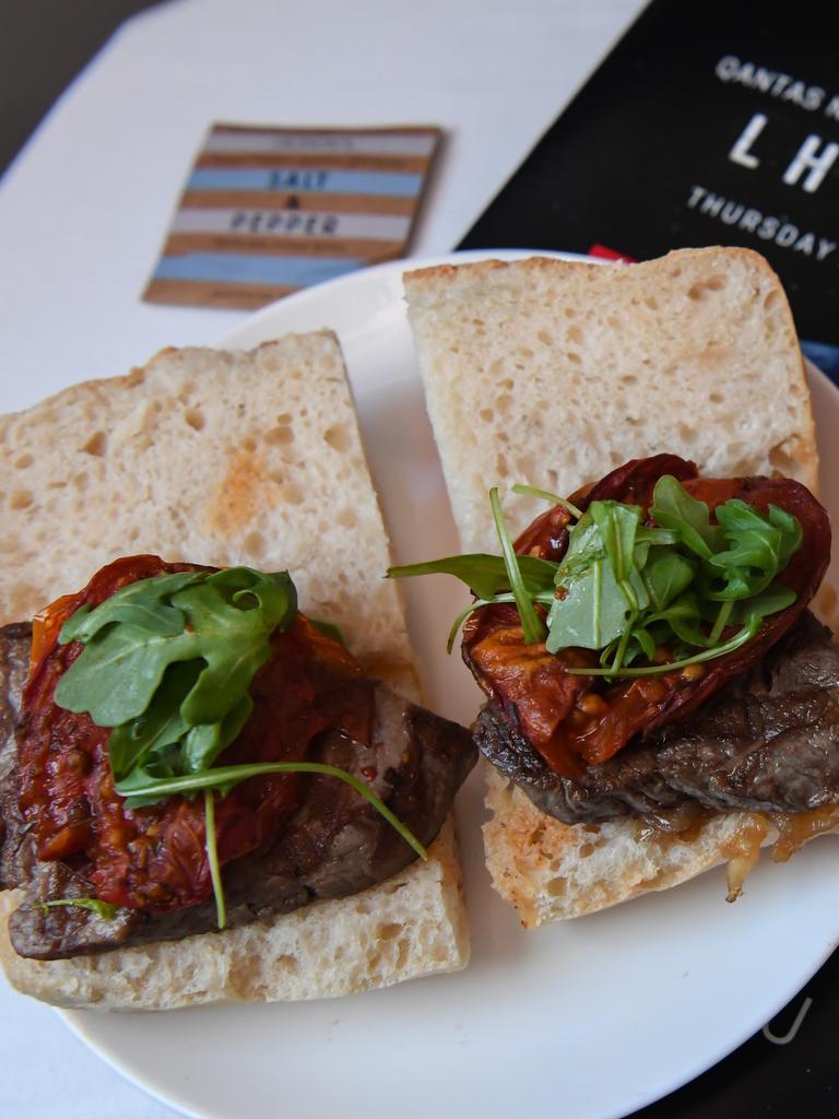 Carb-heavy meals like steak sandwiches were served up. Picture: James Morgan/Qantas via AP