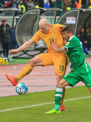 Aaron Mooy competes for the ball at PAS Stadium. Picture: Mark Evans