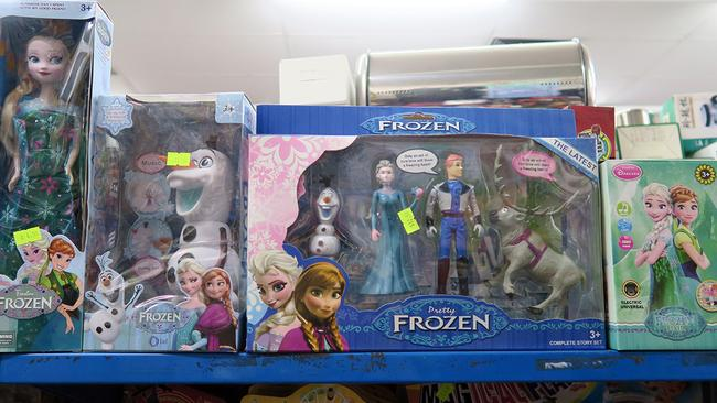 The logo might be spelt correctly on these Frozen toys, but the quality suggests they're probably not the real deal. It's easy to see how parents can be tricked. Picture: Matthias McGregor