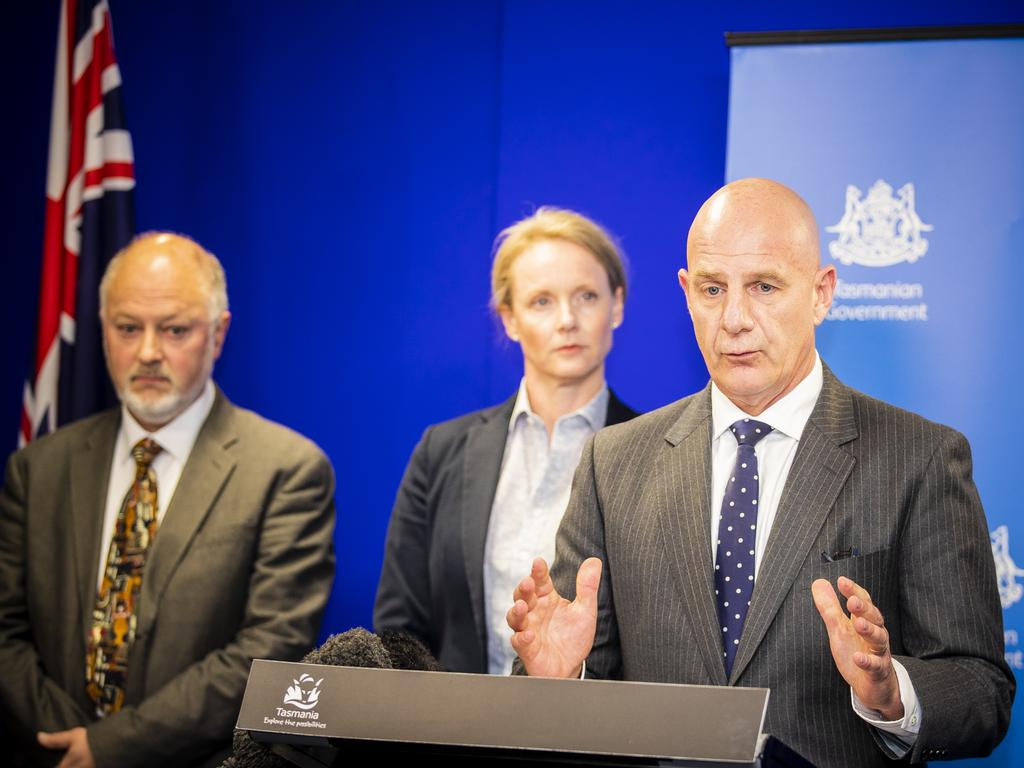 Premier Peter Gutwein, Minister for Health Sarah Courtney and Director of Public Health Mark Veitch speak at the press conference on the coronavirus update. Picture: Richard Jupe